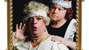B.J. Cleveland and Todd Hart dread the pennies in Theatre Arlington's The Mystery of Irma Vep.