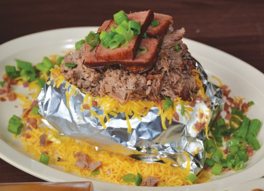 The loaded baked potato at Kipz is buzzworthy. Photo by Lee Chastain.