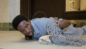 Carlos Brumfield ponders a sudden windfall at Jubilee Theatre's Livin' Fat.