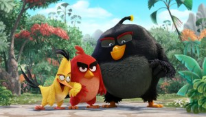Chuck, Red, and Bomb get ready to battle green pigs in The Angry Birds Movie.