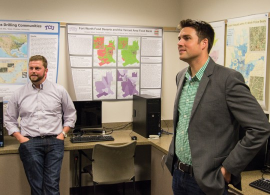 TCU Center for Urban Studies directors Sean Crotty (left) and Kyle Walker are using academic research to positively impact Fort Worth residents and local nonprofits. Photo by Ryan Burger.
