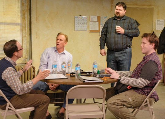 Curtis Raymond Shideler, Bob Hess, Ben Phillips, and Jerry Downey hammer out artistic differences in Circle Theatre's Don't Talk to the Actors.