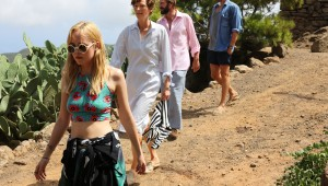 "Dakota Johnson, Tilda Swinton, Ralph Fiennes, and Matthias Schoenaerts find trouble in paradise in ""A Bigger Splash."""