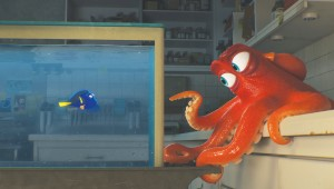 Dory finds help from an octopus who can travel on land in Finding Dory.