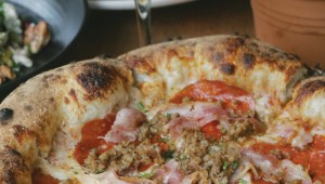 The Pig Pizza included crumbled Italian sausage, pancetta, and pepperoni. Photo by Lee Chastain.
