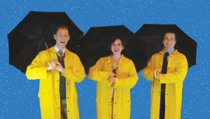 "Tyler Jeffrey Adams, Ally van Deuren, and Jared Kyle bring a classic movie to the stage in Stolen Shakespeare Guild's ""Singin' in the Rain."""
