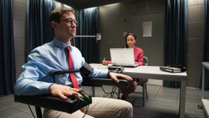 Joseph Gordon-Levitt sweats out a CIA polygraph test in Snowden.