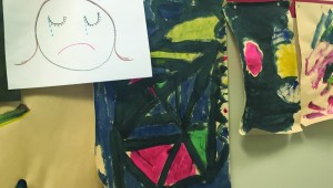 At Lena Pope's art therapy wall, kids in treatment convey how they feel about themselves. Courtesy Lena Pope.