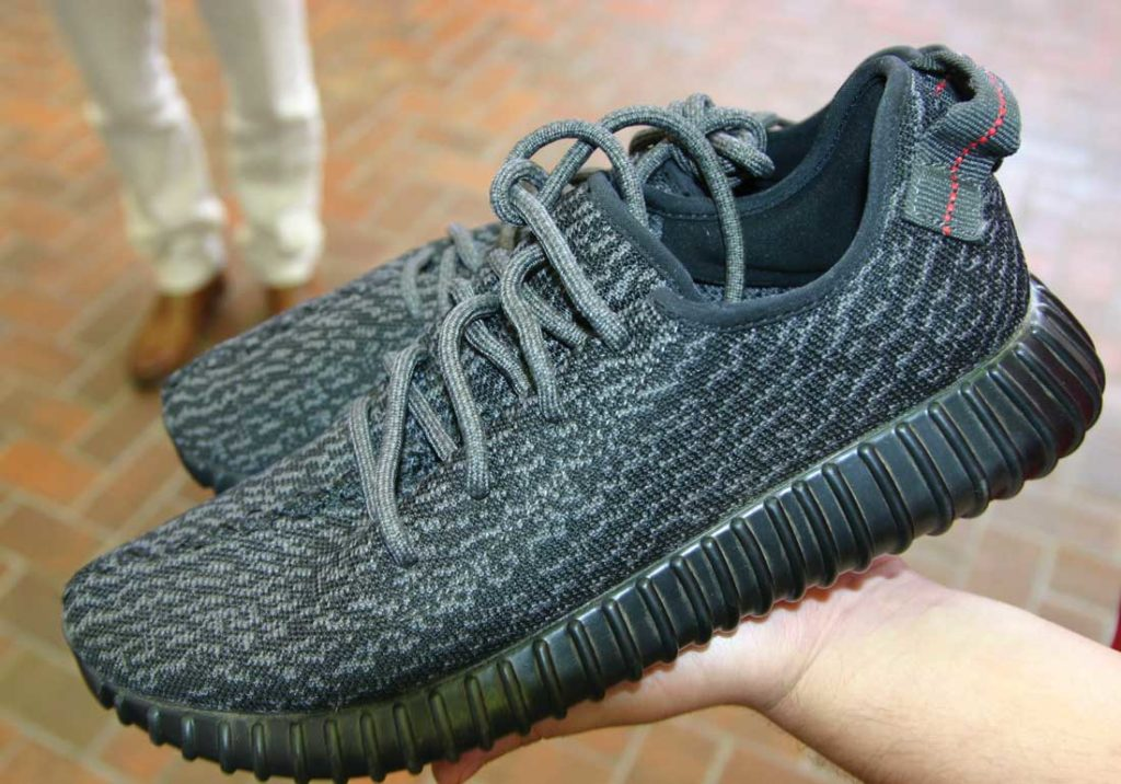 Fake Yeezys, or Feezys, are often exposed by poor stitching. Photo by Jeff Prince.