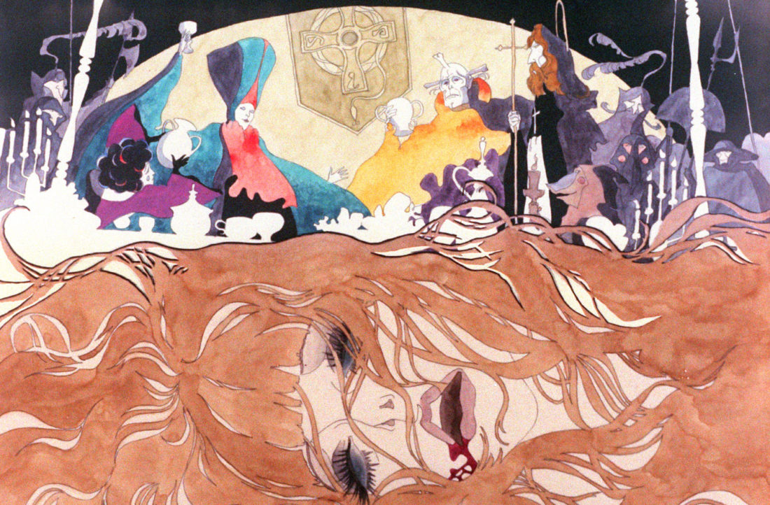 "A psychedelic visual from ""Belladonna of Sadness."""
