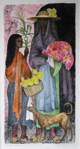 """Flower Sellers"" — ""This was from my observances in Mexico,"" Grammer said of the lithographic image he created by drawing on stone with a grease marker and stamping the image with an ink press. ""I'm amazed it was put in this show. I've never been especially fond of it."" He preferred a hand-colored a litho featuring a Mexican marketplace, but if the curators wanted this one in the show, Grammer said that's OK with him. Barker laughed when told of Grammer's slight disdain for the work. ""That is one of the most elegant San Miguel lithos that Grammer did,"" he said."