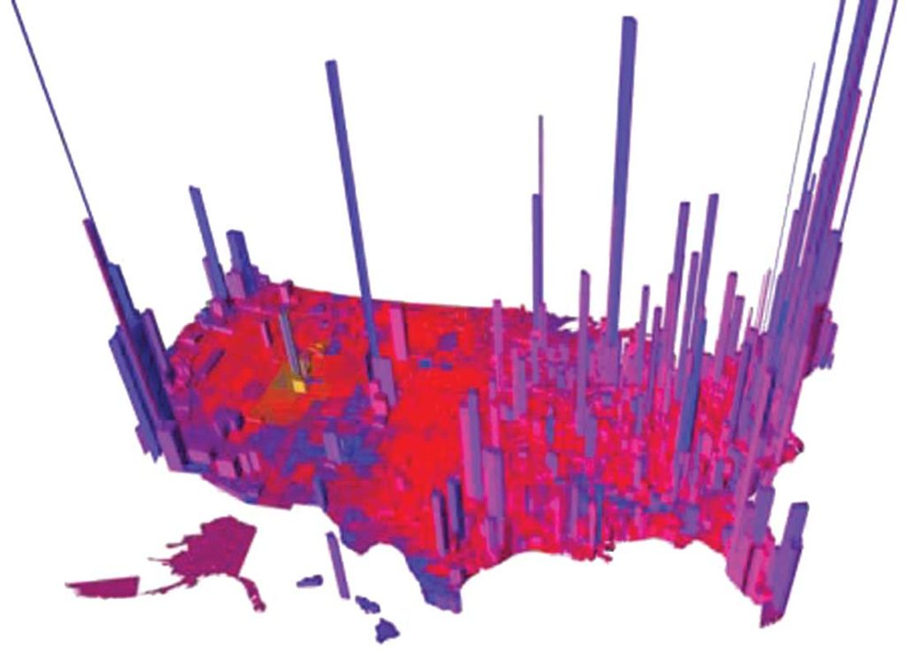 "Our divided electorate, in 3-D. The height of each tower is proportional to the ""voter density"" so that the volume of each ""tower"" is proportional to the number of votes. (Via princeton.edu)"