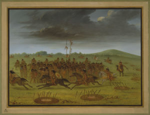 "George Catlin; ""Archery of the Apachees [sic]""; ca. 1855; Oil on paper mounted on paperboard; Amon Carter Museum, Fort Worth, Texas, Gift of Paul Mellon; 1986.40"