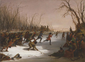"Seth Eastman; ""Ballplay of the Dakota on the St. Peters River in Winter""; 1848; oil on canvas; Amon Carter Museum, Fort Worth Texas, Acquisition in memory of Mitchell A. Wilder, Director, Amon Carter Museum, 1961-1979; 1979.4"