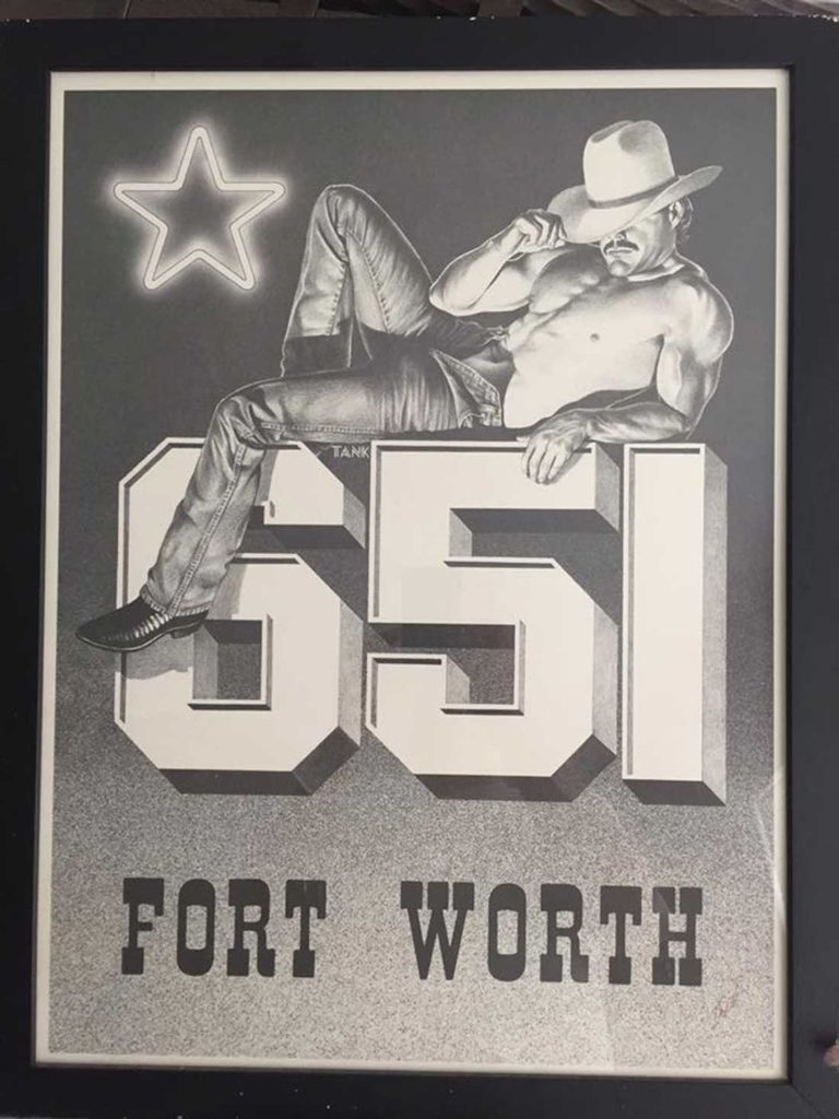 "This promotional poster was created by Texas artist Paul Clark Tankersley, or ""Tank"" as he was better known. It sold at the 651 for $10 back in late '80s and early '90s. From the collection of Todd Camp."
