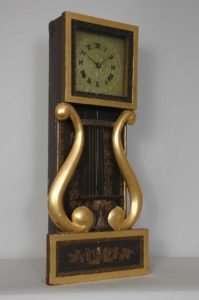 This gilt lyre wall clock will be in the largest exhibit of Joseph Ives clocks ever assembled at the NAWCC National Convention. Photo by Philip Morris.
