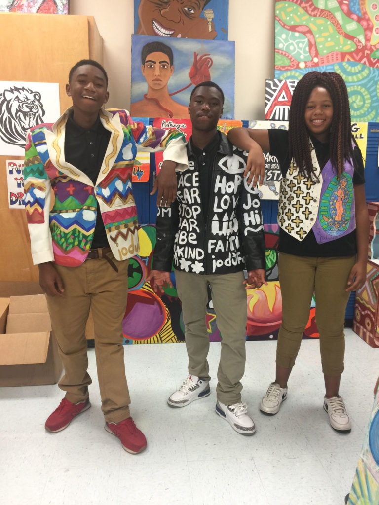 Each student is creating a handful of artworks that portray positive imagery and mottos.