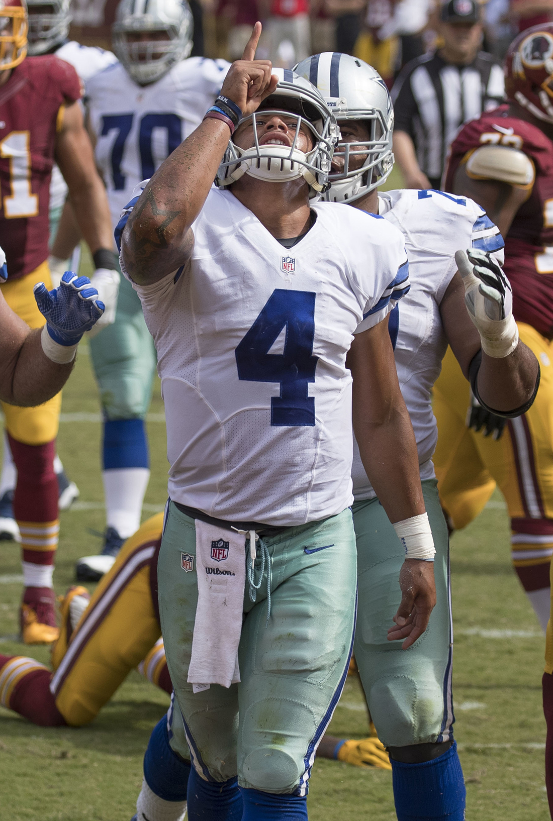 5def1fa56fb Dak Prescott, Cowboys at Redskins 9/18/16. Photo by Keith Allison,  Wikipedia.
