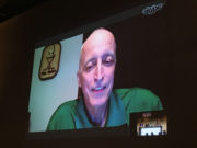 Dave Strader connects via Skype at the Talk of the Town event