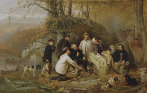 DTR352683 Claiming the Shot: After the Hunt in the Adirondacks, 1865 (oil on canvas) by Brown, John George (1831-1913); 81.3x127 cm; Detroit Institute of Arts, USA; Founders Society Purchase, R.H. Tannahill Foundation fund; PERMISSION REQUIRED FOR NON EDITORIAL USAGE; American, out of copyright PLEASE NOTE: The Bridgeman Art Library works with the owner of this image to clear permission. If you wish to reproduce this image, please inform us so we can clear permission for you.