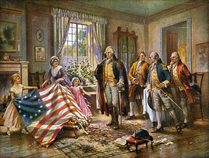 Betsy Ross sews a flag